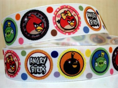 1 METRE ANGRY BIRDS CIRCLES RIBBON 7/8 BOWS HEADBANDS HAIR CLIPS BIRTHDAY CAKE CARD MAKING
